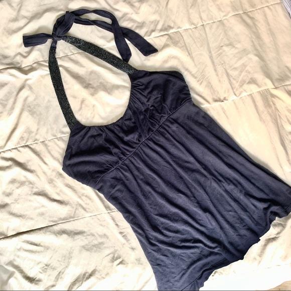 Sequin Guess Jeans halter navy tank top
